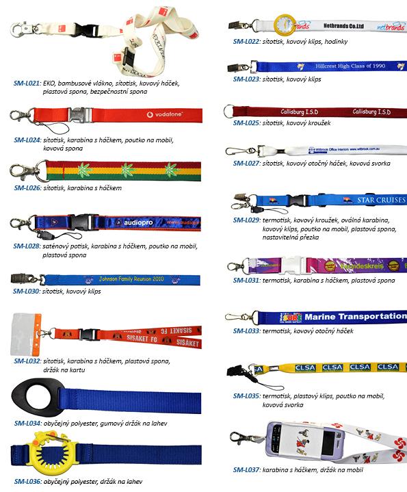 Reklamní lanyardy - typy
