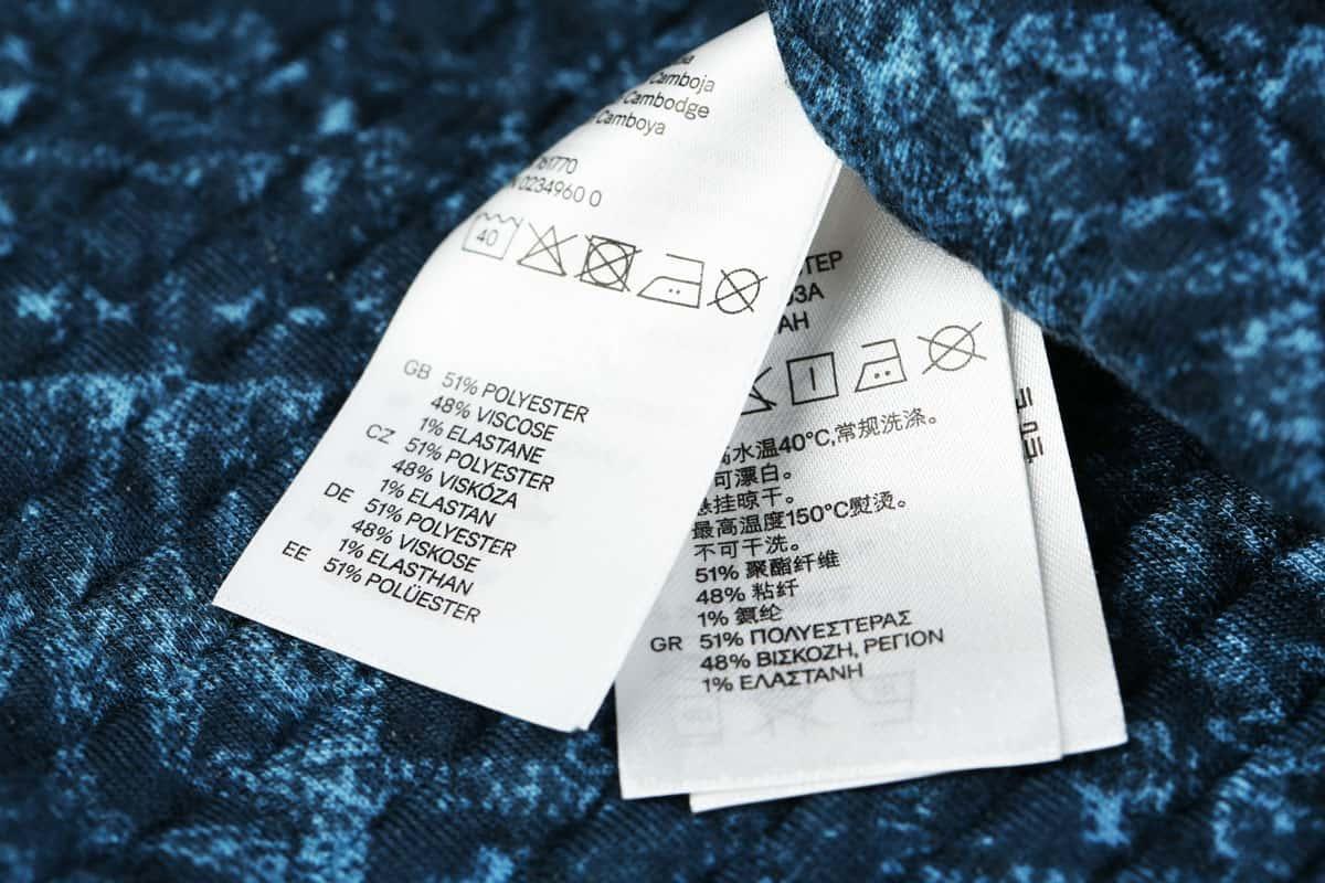 Symboly ošetřování reklammího textilu